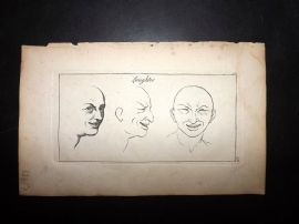 Sayer Compleat Drawing-Book 1757 Antique Print. Laughter 59